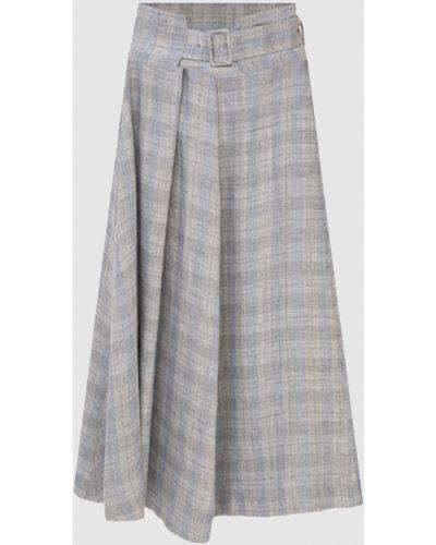 Льняная серая юбка миди Fabiana Filippi