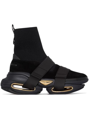 Czarny wysoki sneakersy skórzany Balmain