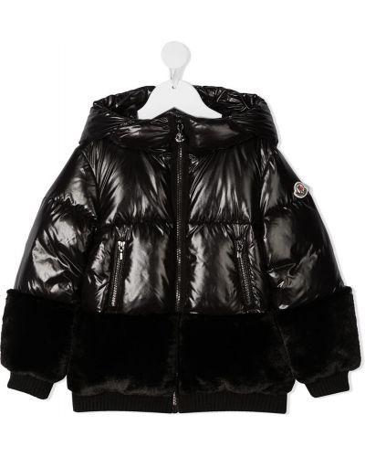 Черное пуховое пальто классическое с капюшоном Moncler Kids