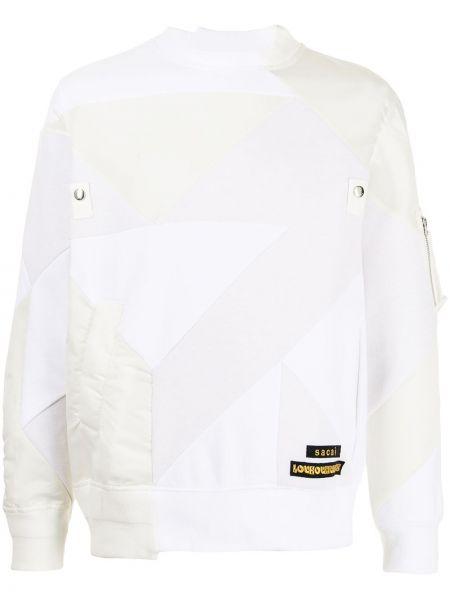 Biała bluza długa z długimi rękawami bawełniana Sacai