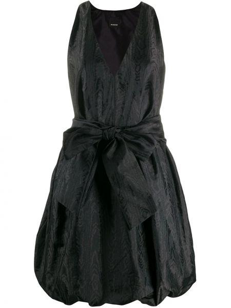 Платье с поясом розовое с V-образным вырезом Pinko