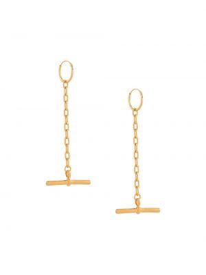 Желтые серьги с подвесками позолоченные на крючках Coup De Coeur