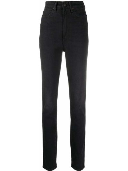 Skórzany czarny zawężony jeansy na wysokości z kieszeniami Acne Studios