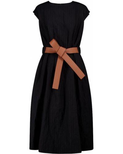 Кожаное черное платье миди с поясом Loewe