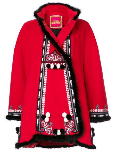 Красное шерстяное пальто с воротником с вышивкой Yuliya Magdych