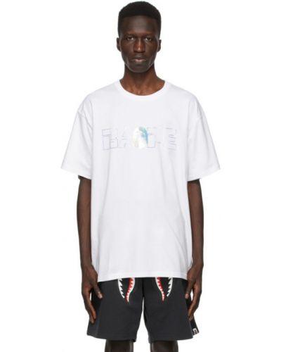 Белая футболка с воротником с вышивкой Bape