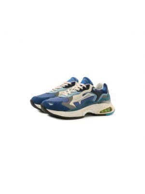 Комбинированные синие кожаные кроссовки Premiata