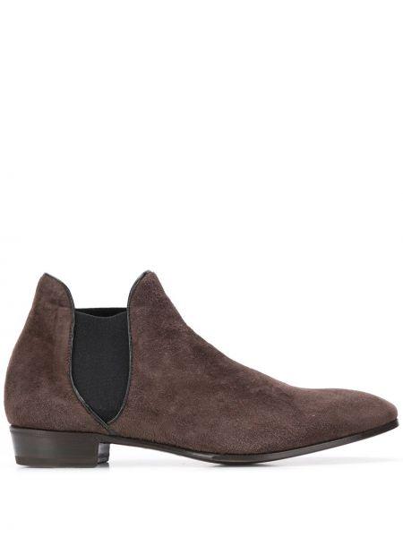 Кожаные коричневые кожаные ботинки на каблуке с острым носом Lidfort