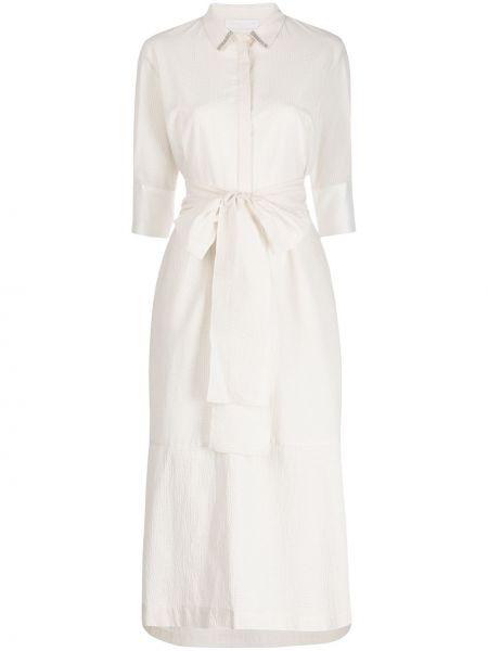 Белое классическое платье миди с воротником узкого кроя Fabiana Filippi