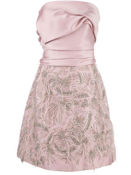 Розовое шелковое платье без рукавов Marchesa