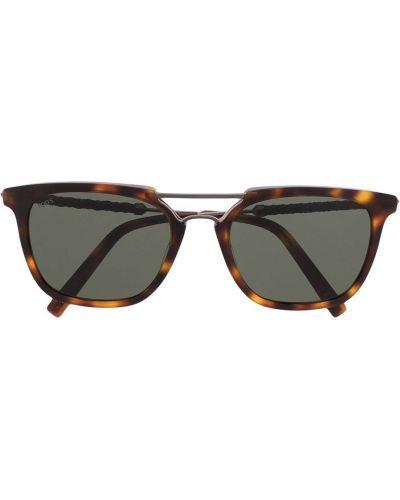 Коричневые кожаные солнцезащитные очки квадратные Tods