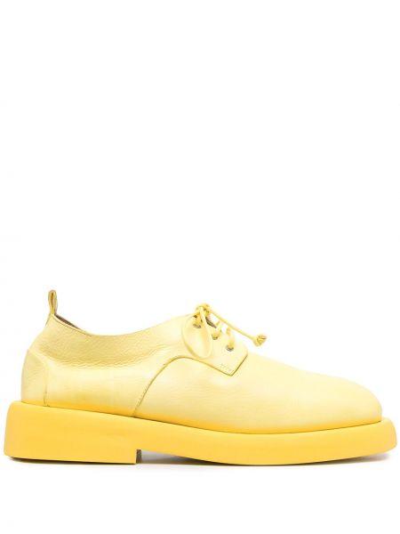 Skórzany żółty koronkowa buty brogsy zasznurować Marsell