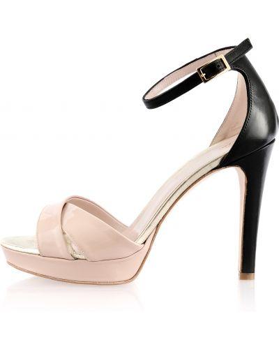 Czarne sandały skorzane eleganckie Primamoda