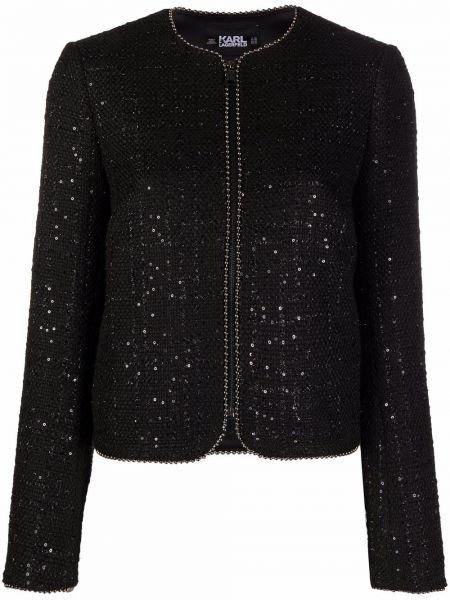 Пиджак твидовый - черный Karl Lagerfeld