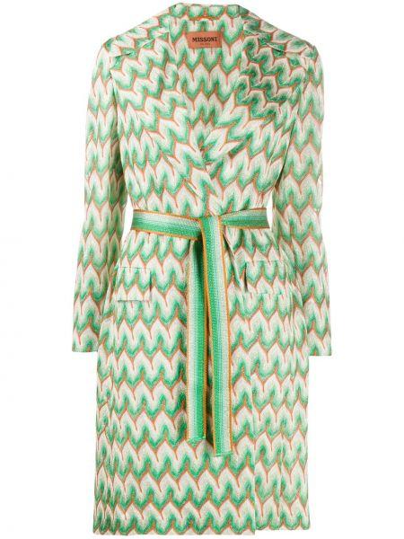Длинное пальто зеленое с узором гусиные лапки Missoni