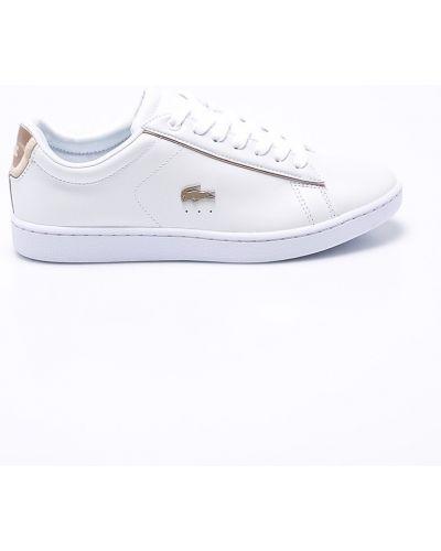 Białe sneakersy skorzane sznurowane Lacoste