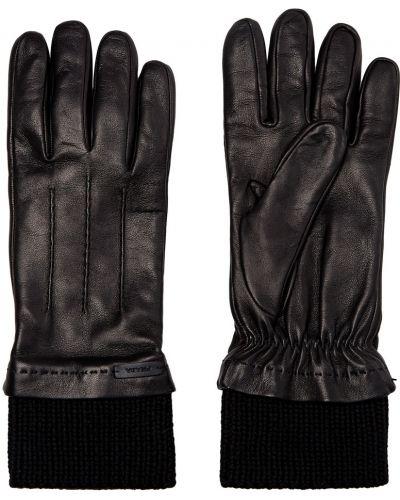 Кожаные черные перчатки с подкладкой Prada