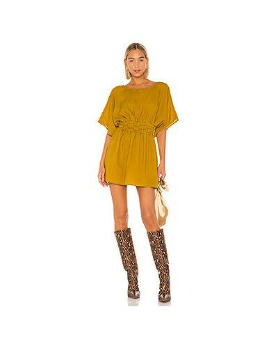 Платье с поясом на резинке горчичный Tularosa