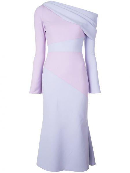 Fioletowa sukienka długa z długimi rękawami Christian Siriano