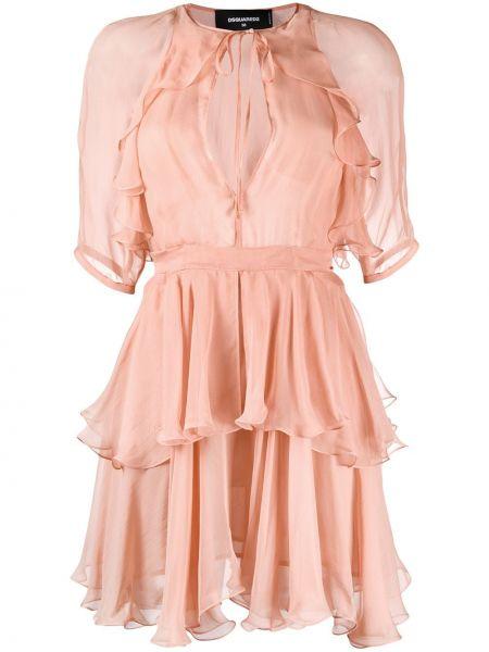 Платье мини с V-образным вырезом с рукавами Dsquared2