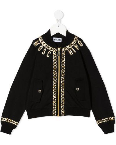 Хлопковая ватная черная длинная куртка Moschino Kids