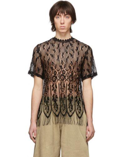 Czarny t-shirt koronkowy asymetryczny Palomo Spain