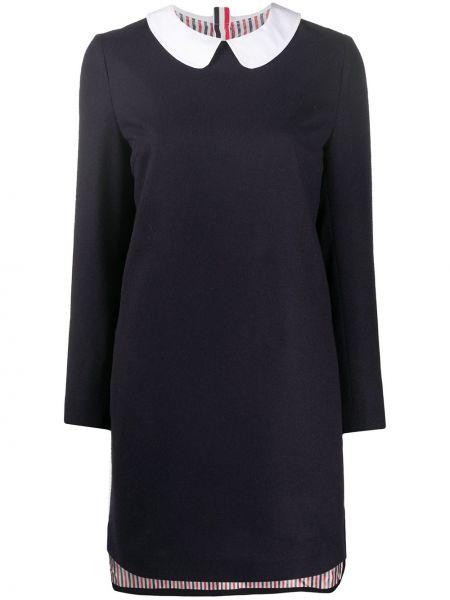 Z kaszmiru niebieska sukienka mini z długimi rękawami Thom Browne