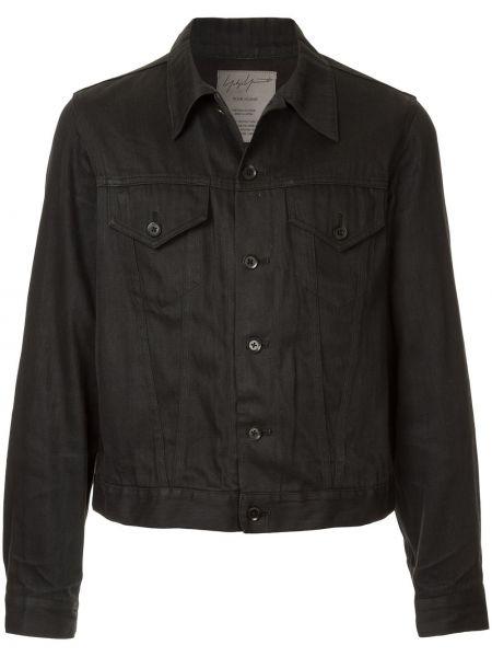 Черная джинсовая куртка на пуговицах винтажная с воротником Yohji Yamamoto Pre-owned