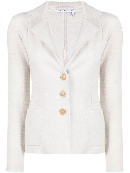 С рукавами удлиненный пиджак с накладными карманами с отворотом Agnona