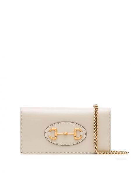 Biały portfel skórzany z prawdziwej skóry Gucci