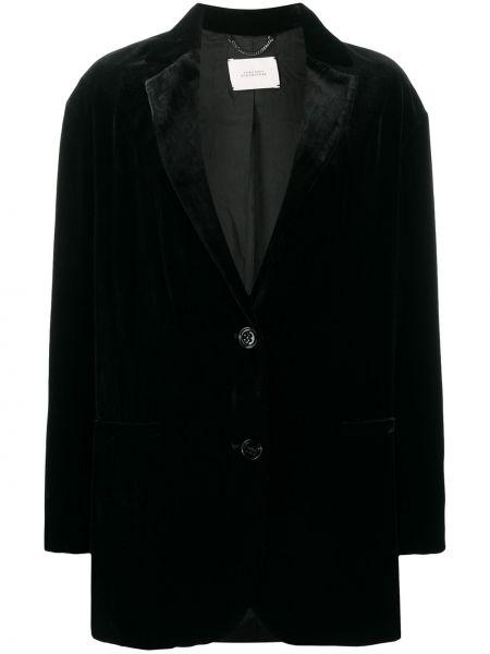 Бархатный черный удлиненный пиджак оверсайз Dorothee Schumacher