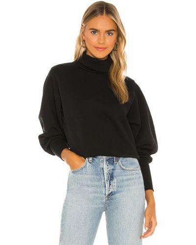 Frotte czarny bluza z mankietami z dekoltem Agolde