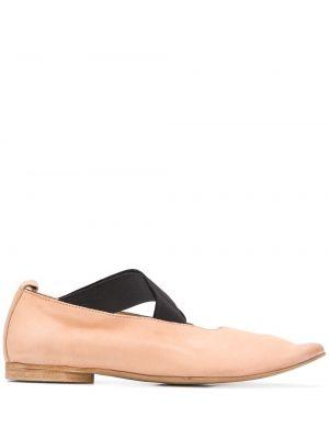 Коричневые балетки на каблуке эластичные Uma Wang