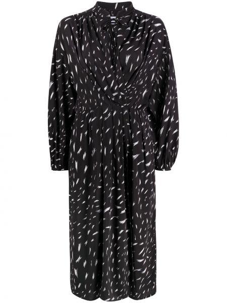 Плиссированное черное платье миди с поясом Iro