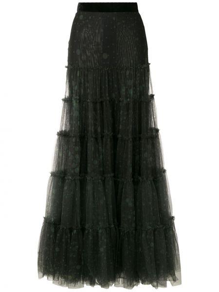 Czarny spódnica maxi wysoki wzrost za pełne z tiulu Eva