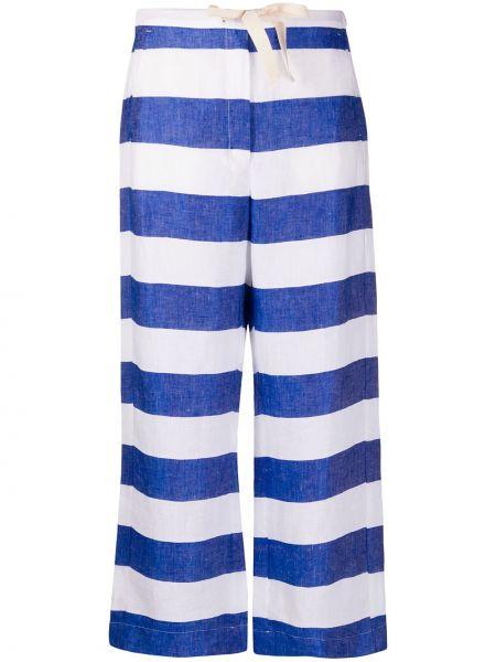 Niebieskie spodnie z wysokim stanem w paski S Max Mara