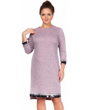 Теплое платье розовое с пайетками Liza Fashion