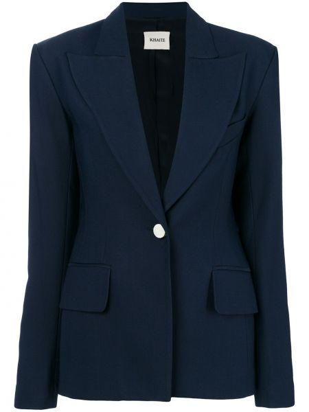 Облегающий шелковый синий пиджак Khaite