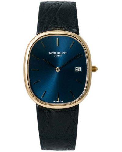 Желтые с ремешком кожаные часы Patek Philippe