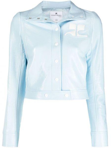 Хлопковая синяя короткая куртка с воротником Courrèges