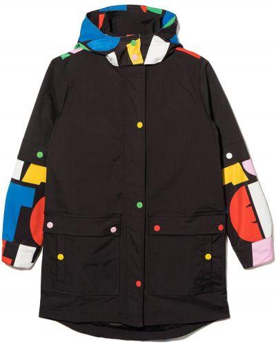 Czarny płaszcz z kapturem Stella Mccartney Kids