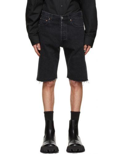 Черные кожаные джинсовые шорты с карманами Vetements