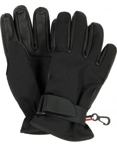Czarny rękawiczki z prawdziwej skóry Moncler Enfant