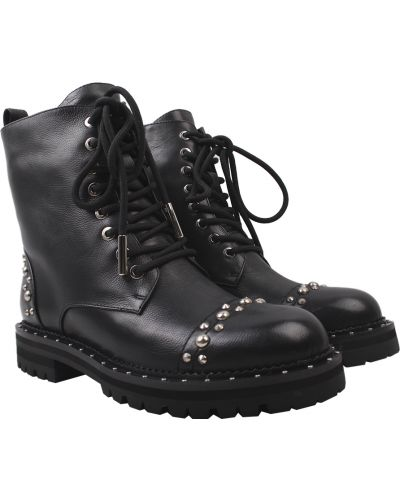 Кожаные ботинки - черные Djovannia