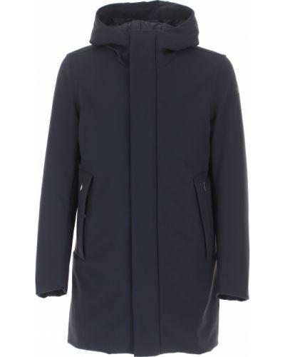 Niebieski zimowy płaszcz na przyciskach od płaszcza przeciwdeszczowego Rrd