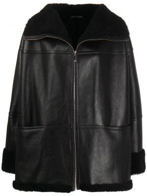 Черная кожаная куртка с карманами Toteme