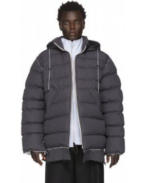 Теплая серебряная стеганая куртка с манжетами с опушкой Camiel Fortgens