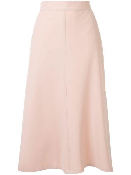 Розовая юбка миди с карманами в рубчик Tomorrowland