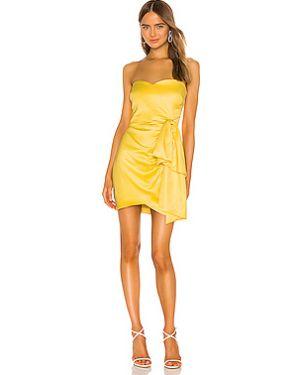 Текстильное желтое платье мини с декольте на молнии Likely