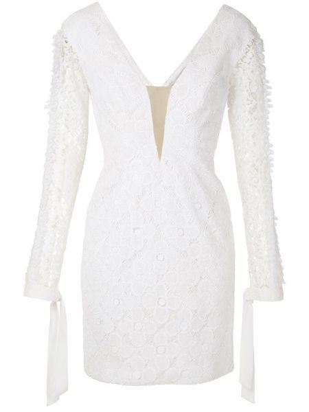 Белое шелковое платье на молнии с оборками Martha Medeiros